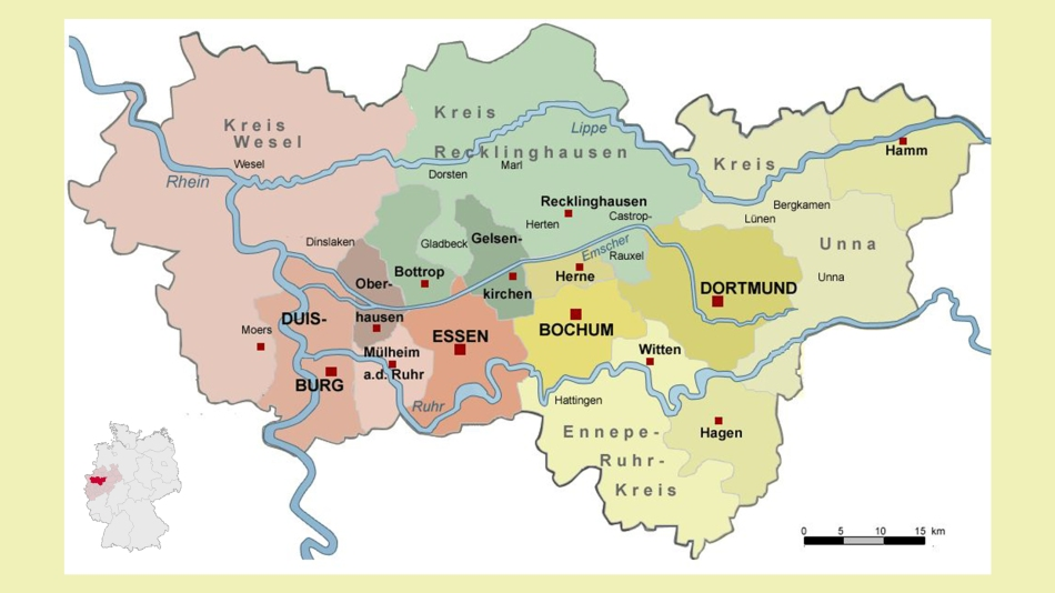 Zagłebie Ruhry (infografiki pochodzą z Wikipedii)
