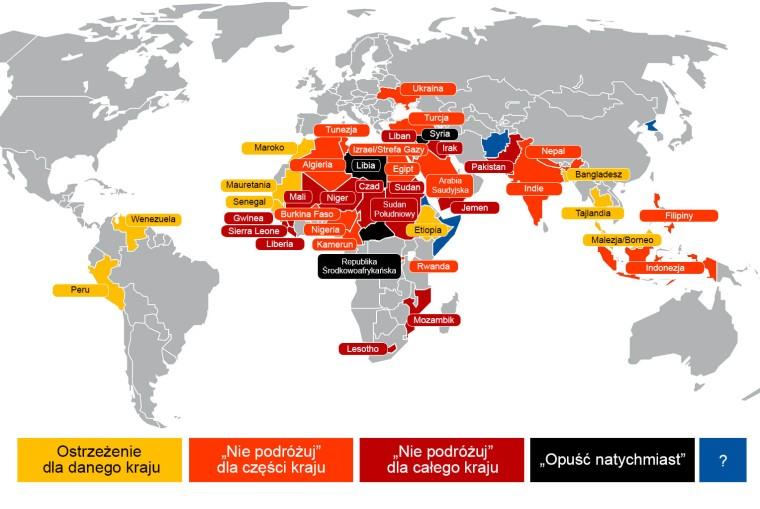 Do tych krajów lepiej się nie wyberać - MSZ ostrzega, mapa publikowana przez magazyn