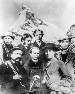 Ekipa Whympera; on sam stoi w pierwszym rzędzie z prawej strony (fot. ze zbiorów Zermatt Tourismus)