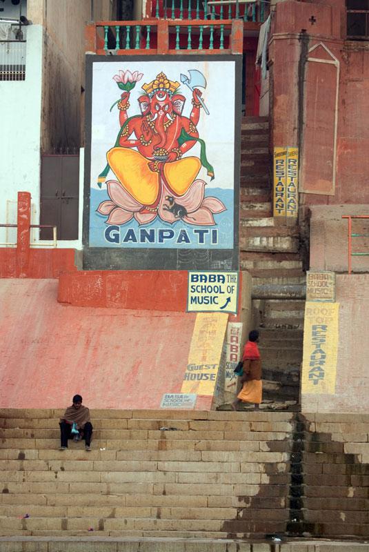 Ganesha (Ganpati) z Varanasi, malowidło na ścianie jednego z budynków usytuowanych na brzegu Gangesu, fot. Paweł Wroński