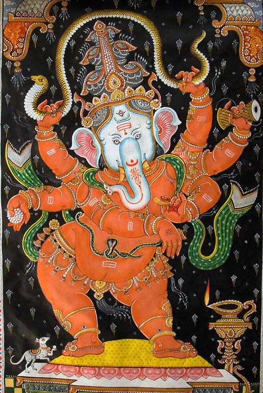 Ganesha (inaczej Ganapati), hinduskie malowidło na jedwabiu, fot. Paweł Wroński