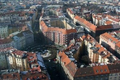 Widok z wieży telewizyjnej na Žižkovie, fot. Paweł Wroński