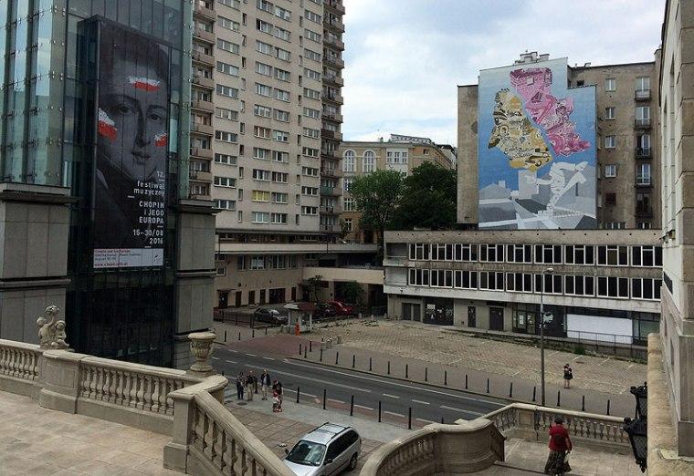 Chopin z mapą Warszawy zamiast głowy - murale w rejonie Muzeum Fryderyka Chopina na Tamce w Warszawie, fot. Paweł Wroński
