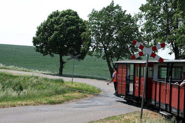Fragment wielkopolsko-kujawskiego pogranicza można przemierzyć wąskotorową kolejką, kursującą na trasie ze Żnina do Biskupina przez Wenecję. Fot. Paweł Wroński