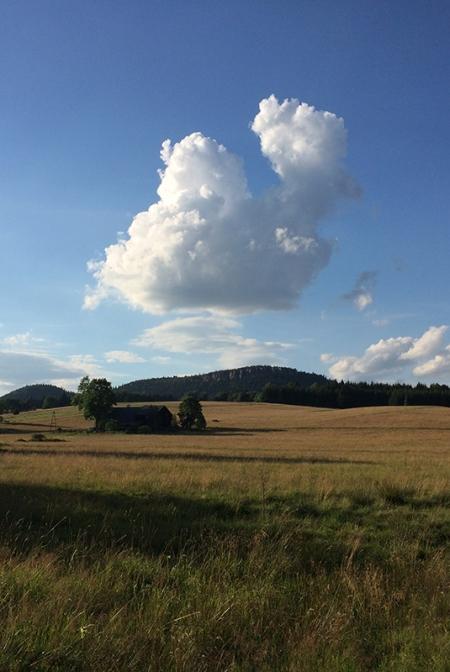 Szczeliniec Wielki - widok z karłowskich łąk przy tzw. Kręgielnym Trakcie, fot. Paweł Wroński