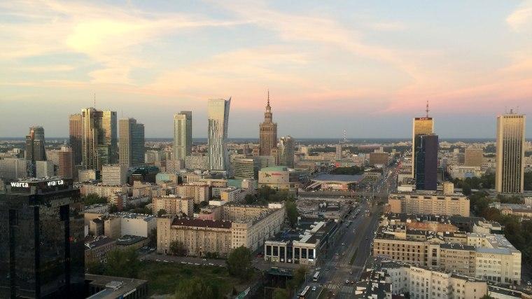 Warszawski Manhattan z tarasu 27. piętra Millenium Plaza (Klub Level#27), fot. Paweł Wroński