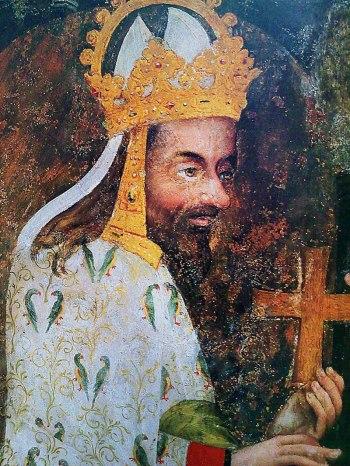 Portret Karola IV z zamku w Karlštejnie, namalowany w latach 1357-1358, fot. z archiwum Czech Tourism