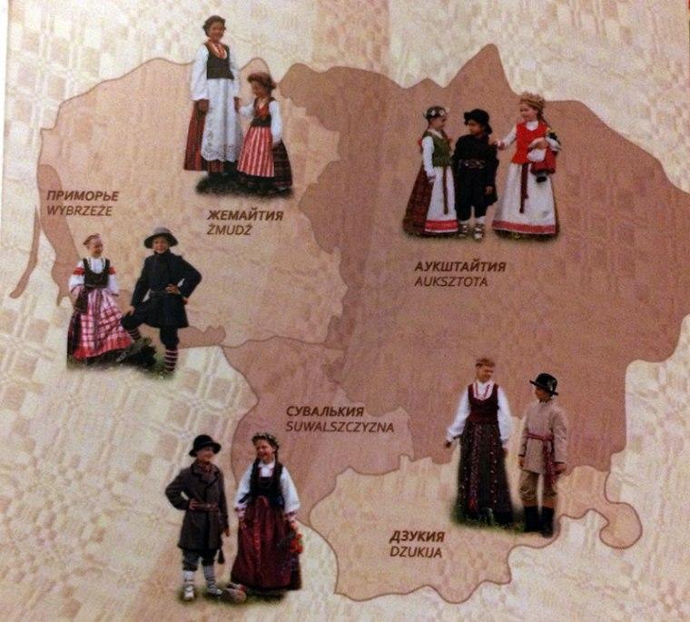 Mapka przedstawia podział Litwy na 4 regiony historyczno etnograficzne