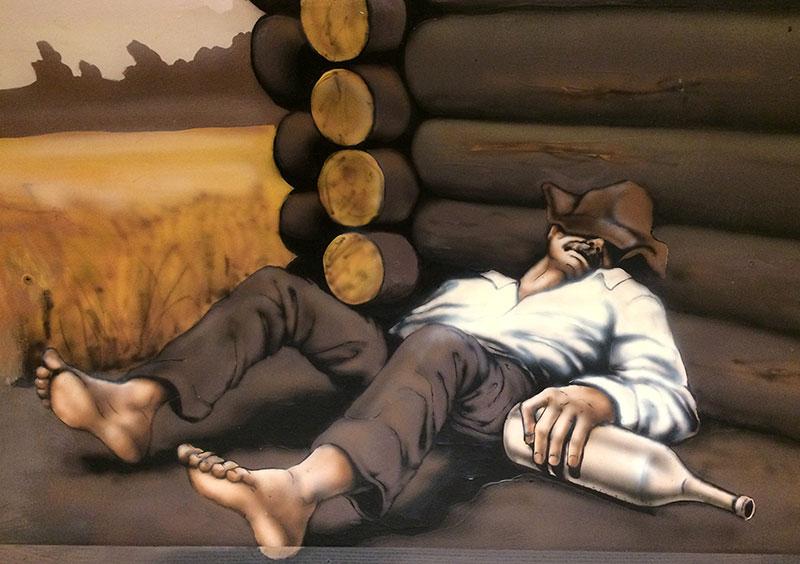 Jedno z malowideł zdobiących ściany Restoranas 55' - nazwijmy je roboczo - Konsekwencje nadużycia trunku, fot. Paweł Wroński