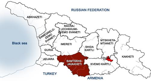 Regiony Gruzji, na czerwono oznaczona została Meschetia (to dawna nazwa). Infografika pochodzi ze domowej strony winiarni Giorgiego Natenadze: www.natenadze.company