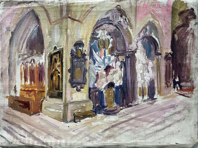 Józef Sendecki, szkic wnętrza koscioła, Kraków (?, niedatowany), fot. Paweł Wroński