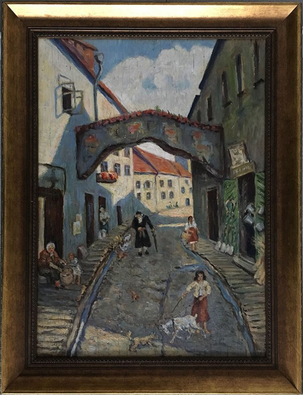 """Józef Sendecki - """"Żydowska ulica w Wilnie"""", obraz niedatowany, fot. Paweł Wroński"""