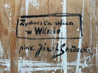 Rewers obrazu Józefa Sendeckiego z charakterystycznym dla artysty podpisem-opisem, fot. Paweł Wroński