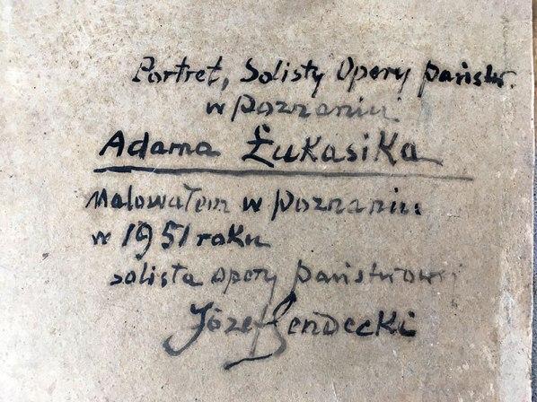 Opis portretu zamiesczony przz malarza na odwrocie płotna, fot. Paweł Wróński