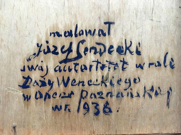 Opis zamieszczony przez Sendeckiego na odwrocie obrazu, fot. Paweł Wroński