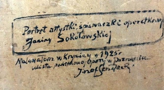Józef Sendecki, opis na odwrocie portretu Janiny Sokołowskiej, fot. Paweł Wróński