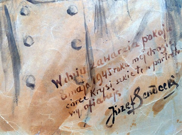 W prawym dolnym narożniku Sendeci umieścił swój autograf i dedykację z datą - dniam zakończenia II wojny światowej, fot. Paweł Wroński