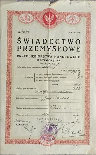Licencja na dorożkę samochodową na rok 1927, fot. Paweł Wroński