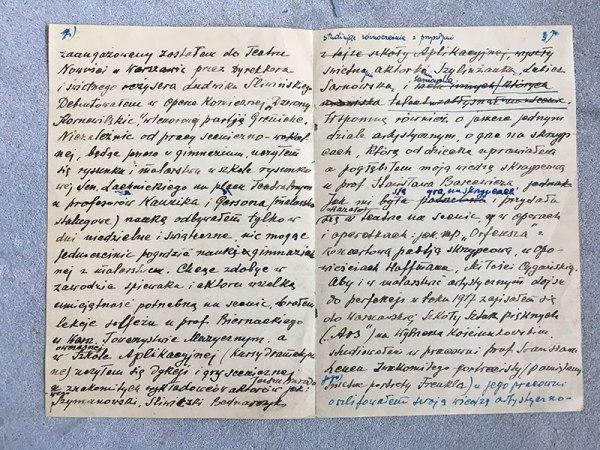 Fragment rękopisu - życiorys, fot. Paweł Wroński