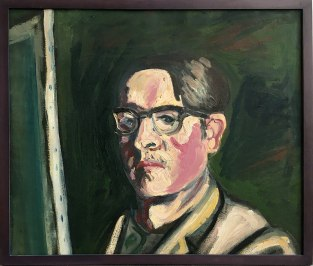"""Wystawa w Muzeum Warszawskiej Pragi, """"Z Melliny Sztuki: Jerzy Lassota"""" (Autoportret, 1969), fot. Paweł Wroński"""