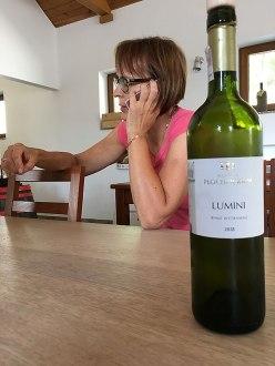 Pani Basia i jedno z produkowanych przez Płochockich win - Lumini, białe wytrawne, kupaż odmian pinot blanc, seyval blanc i sibera (trunek idealny do owoców morza, sałatek, ryb i dań kuchni azjatyckiej), fot. Paweł Wroński