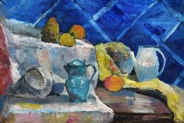 Tadeusz Chyła - Martwa natura na niebieskim tle (Archiwum Fundacji Skarbnica Sztuki)