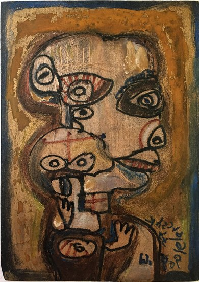 Motyw głowy - obraz na desce (własność rodziny), fot. Paweł Wroński