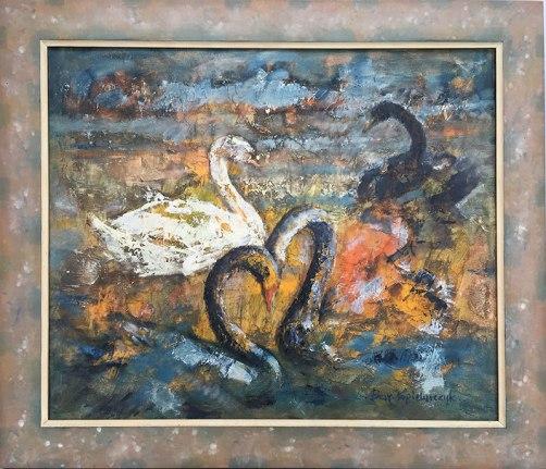 """""""Łabędzie"""", 2003 - obraz Barbary Popielarczyk Daszewskiej, córki Władysława Popielarczyka, fot. Paweł Wroński"""