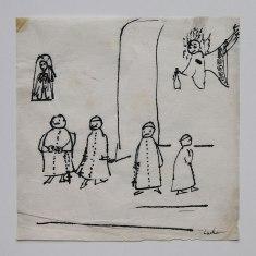 Zdzisław Lachur - Bramy Raju (grafika na serwetce ze zbiorów Skarbnicy Sztuki)