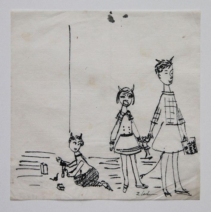 Zdzisław Lachur - Diabelska rodzina (grafika na serwetce ze zbiorów Skarbnicy Sztuki)