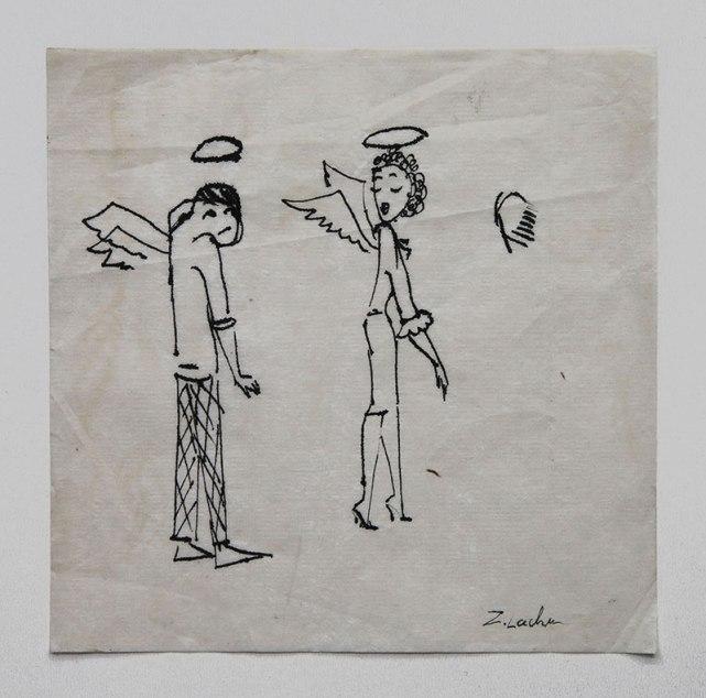 Zdzisław Lachur - Kłótnia aniołów (grafika na serwetce ze zbiorów Skarbnicy Sztuki)