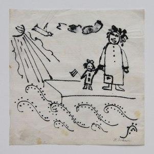 Zdzisław Lachur - Radosne święto (grafika na serwetce ze zbiorów Skarbnicy Sztuki)