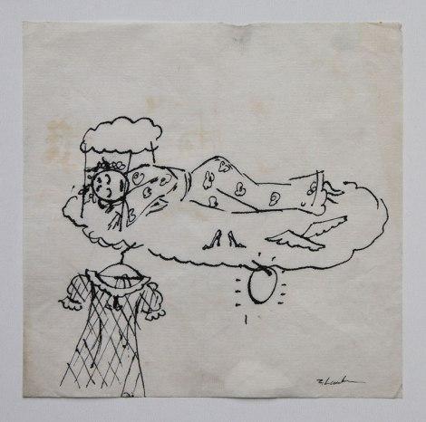 Zdzisław Lachur - Sen o modzie (grafika na serwetce ze zbiorów Skarbnicy Sztuki)
