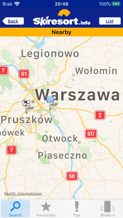 """""""Nearby"""" twojej lokalizacji (zrzut ekranu aplikacji)"""