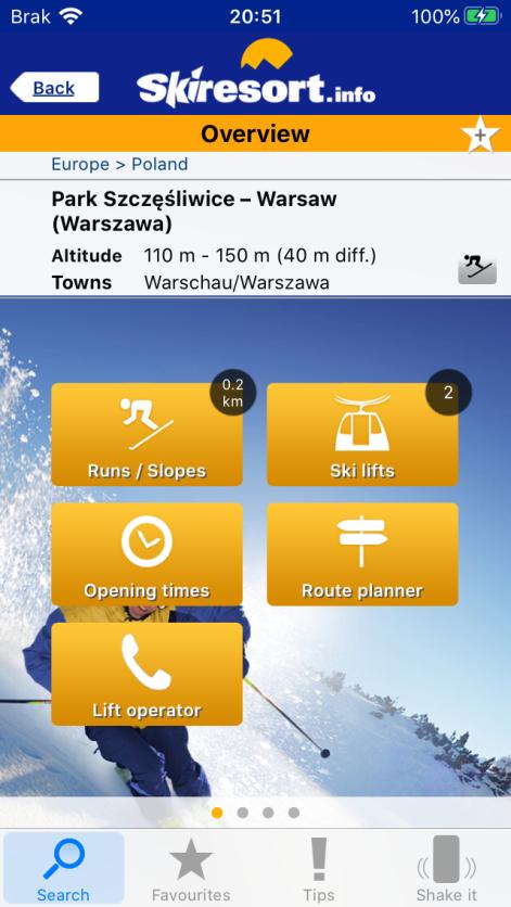 Szczegóły dotyczące Szczęśliwic (zrzut ekranu aplikacji)