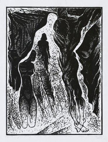 """Miron, """"Między myślą a przenaczeniem"""", linoryt z kolekcji Skarbnicy Sztuki"""