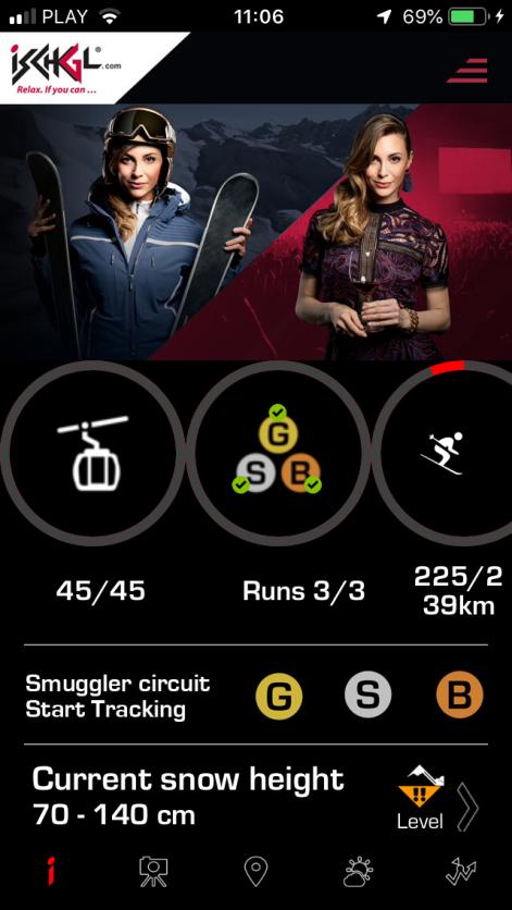 Ekran główny aplikacji iSki Ischgl (zrzut z ekranu iPhone'a)