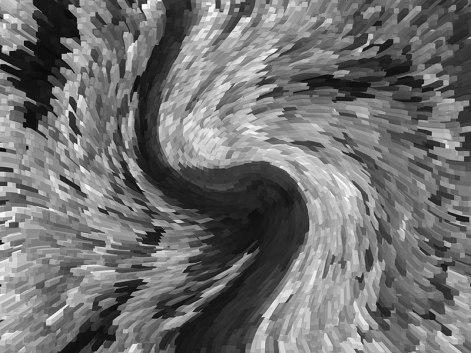 Kora sosny z zachowanym kolorem ale zmieniona w obraz 3D ale po zdjęciu kolorów i skręceniu - zawirowaniu, fot. Paweł Wroński